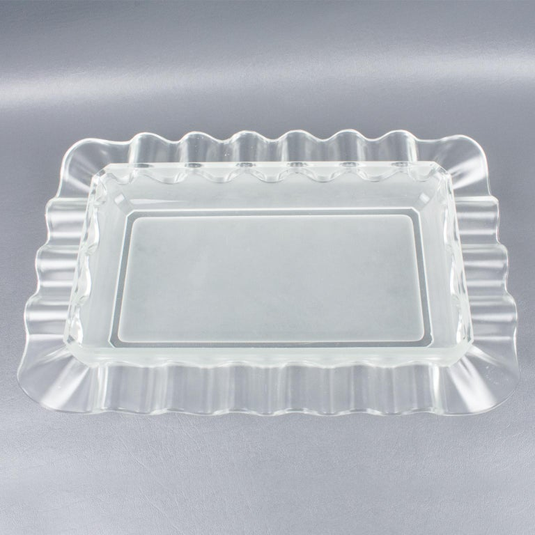 Verlys France Art Deco Frosted Glass Centerpiece Bowl For Sale 6