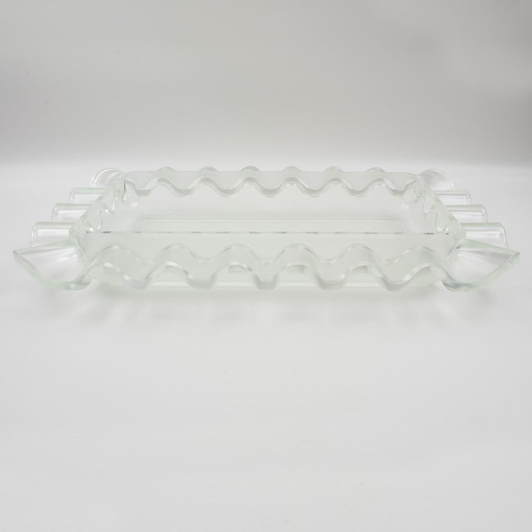Verlys France Art Deco Frosted Glass Centerpiece Bowl For Sale 8