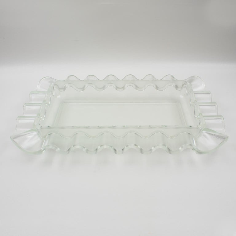 Verlys France Art Deco Frosted Glass Centerpiece Bowl For Sale 9