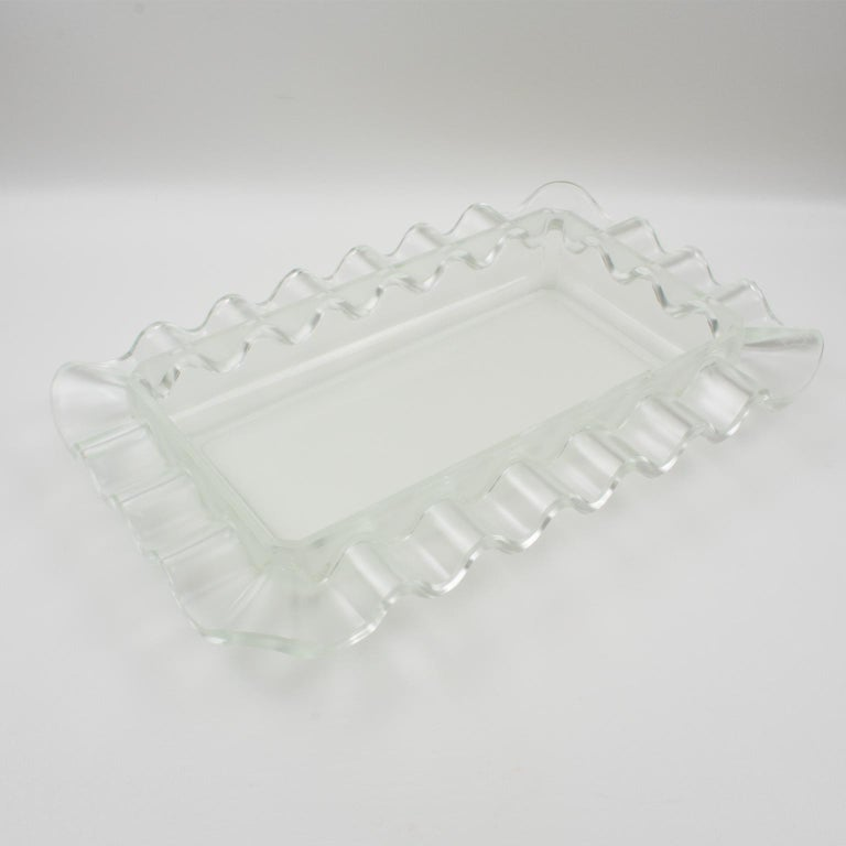 French Verlys France Art Deco Frosted Glass Centerpiece Bowl For Sale