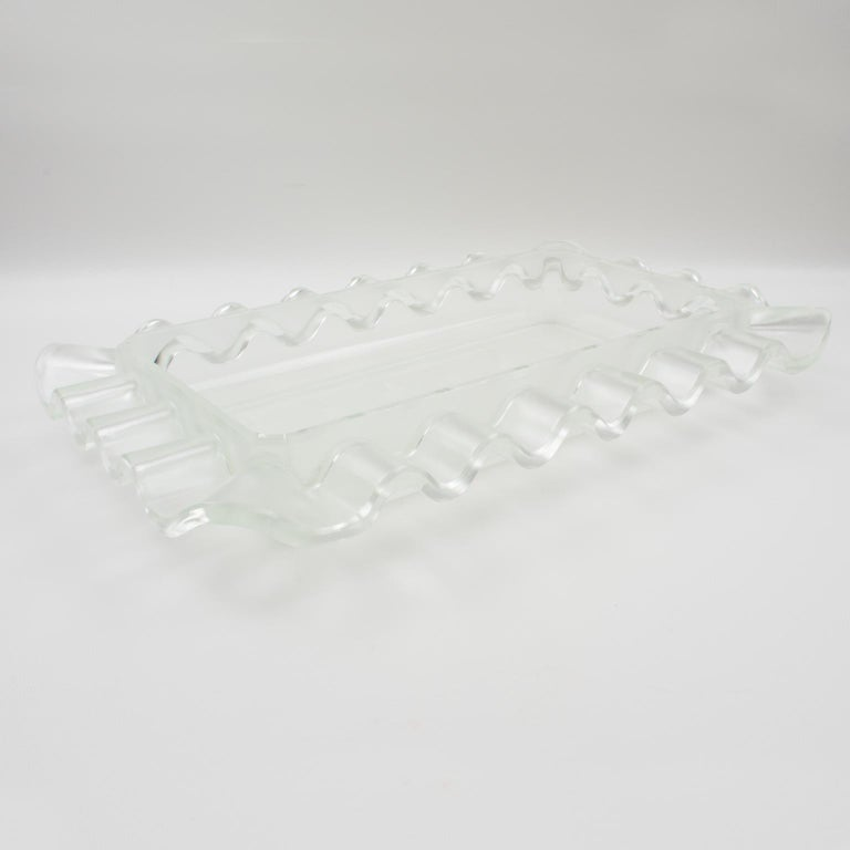 Mid-20th Century Verlys France Art Deco Frosted Glass Centerpiece Bowl For Sale