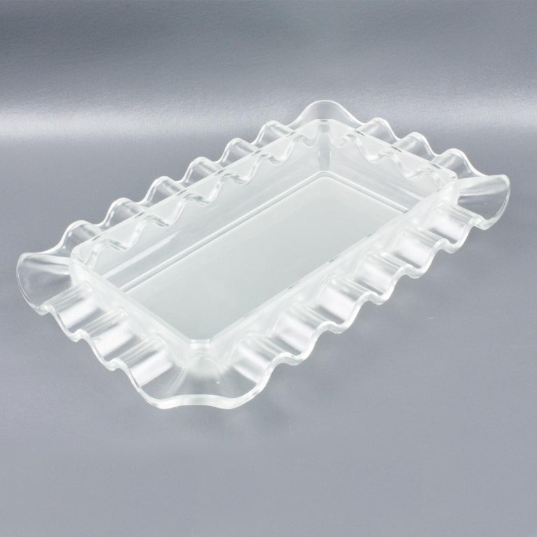 Verlys France Art Deco Frosted Glass Centerpiece Bowl For Sale 2