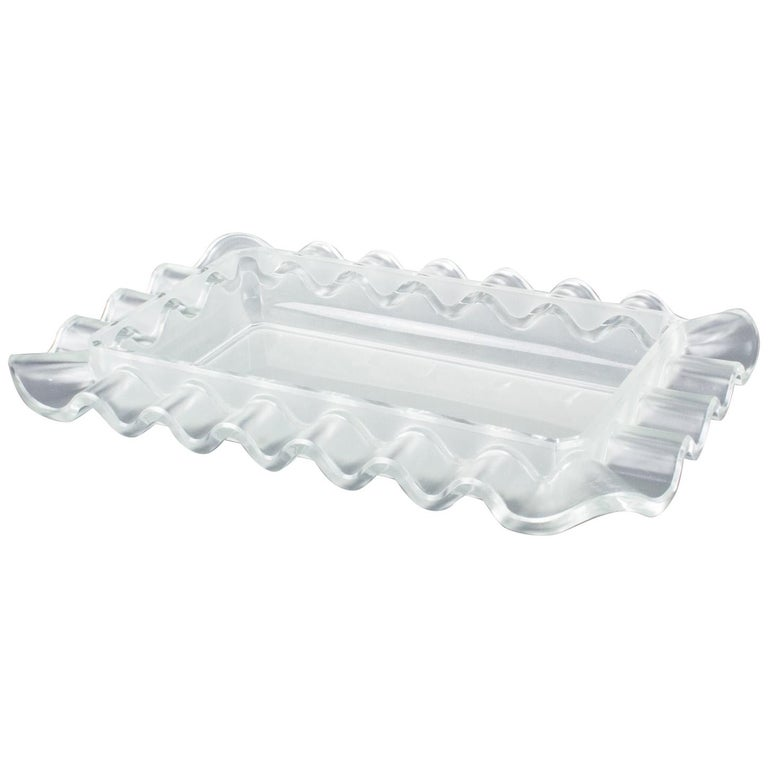 Verlys France Art Deco Frosted Glass Centerpiece Bowl For Sale