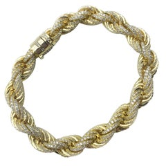 Vermeil Rope 18k Gold Over Sterling Silver Gem Set CZ Bracelet