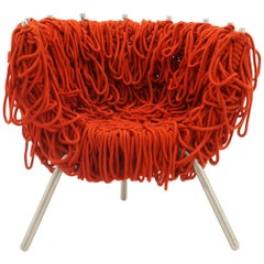 Vermelha Chair by Fernando and Humberto Campana for Edra, Red Rope, Aluminum