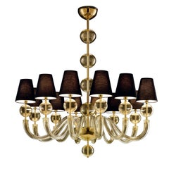 Vermont 5550 12 Chandelier in Glass with Black Shade, by Barovier&Toso