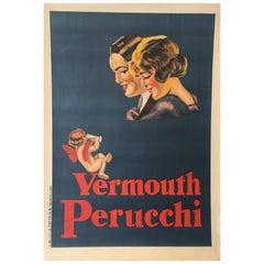 'Vermouth Perucchi' Original Vintage Art Deco Poster, circa 1926