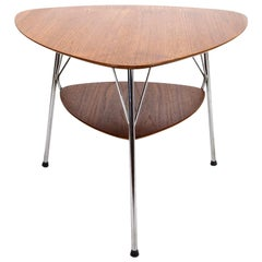 Vermund Larsen Model VL1312 Triangular Teak and Metal Side Table, Denmark, 1959