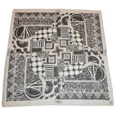 """Verna Design Black & White """"Mod Hippie"""" Cotton Scarf"""