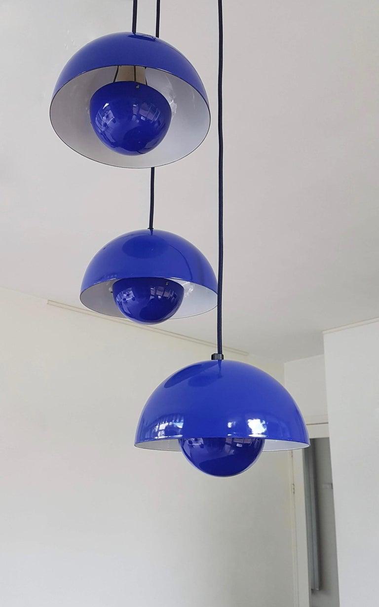 Scandinavian Modern Verner Panton 1970s Flower Pot Cluster Lamp Ceiling Lamp For Sale