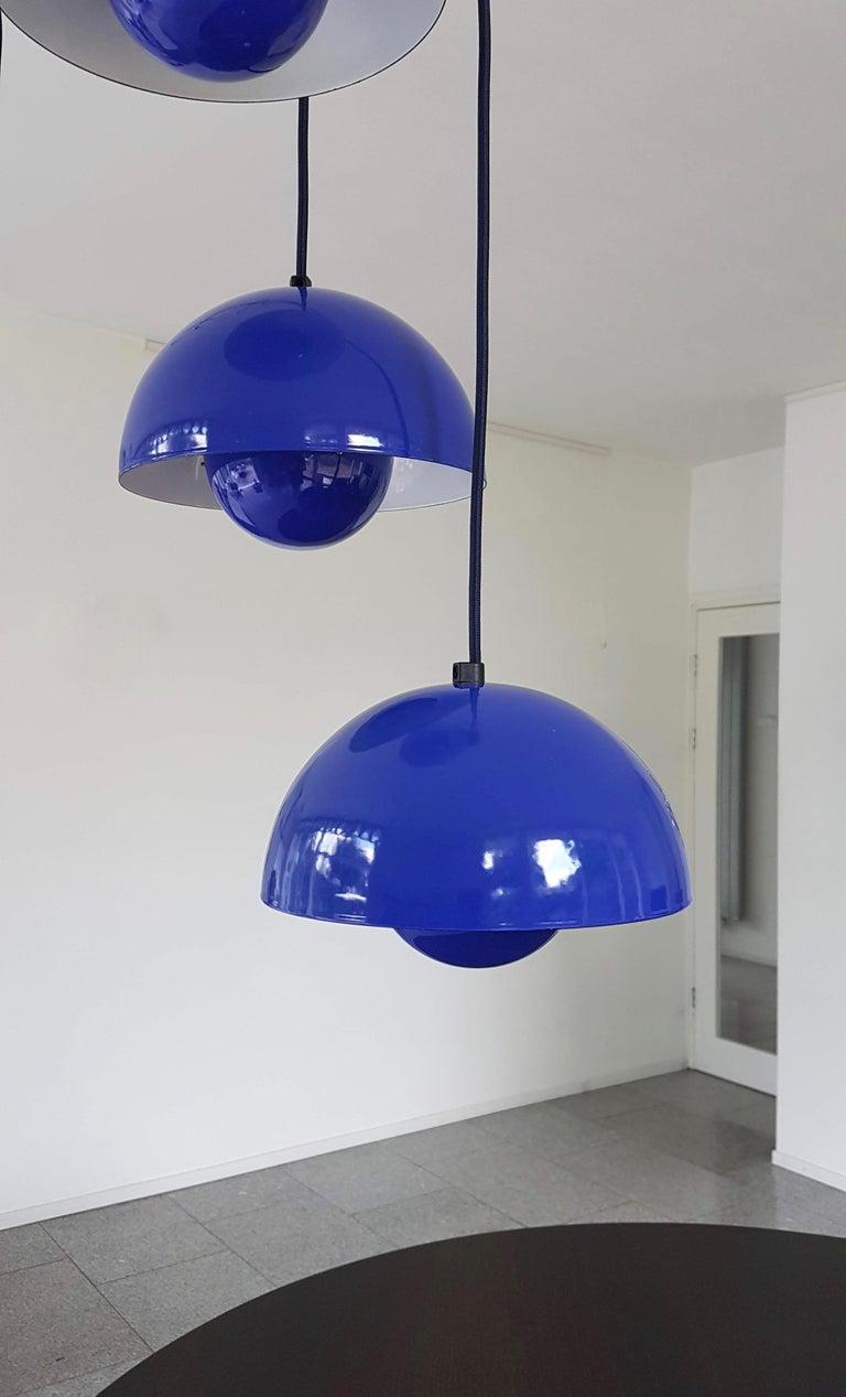 Enameled Verner Panton 1970s Flower Pot Cluster Lamp Ceiling Lamp For Sale
