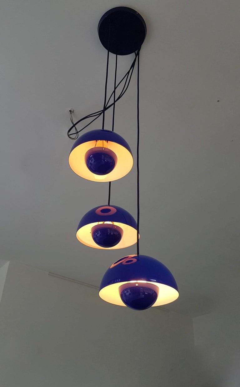 Steel Verner Panton 1970s Flower Pot Cluster Lamp Ceiling Lamp For Sale