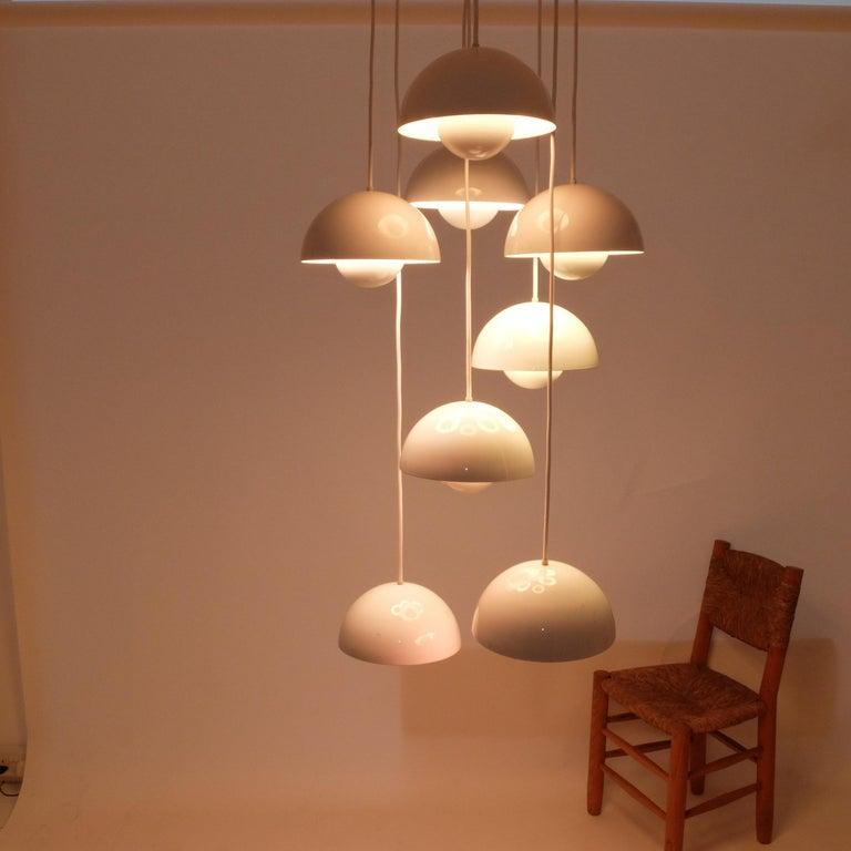 Verner Panton 8 Flower Pot Ceiling Lamp by Louis Poulsen, 1968.   110 v or 240 v For Sale 4