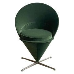 "Verner Panton ""Cone"" Chair in Green Velvet"
