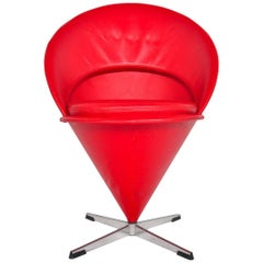 Verner Panton Cone Chair in Red, Space Age Danish Modern Midcentury