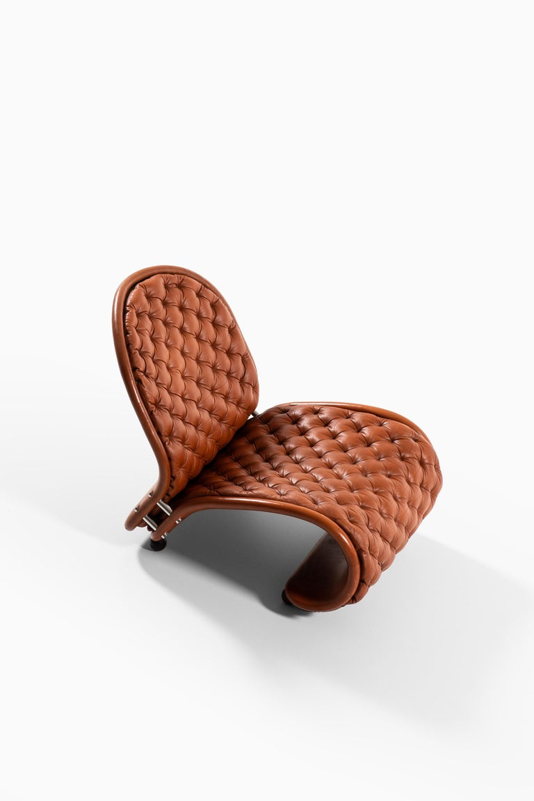 Leather Verner Panton Easy Chairs Model System 1-2-3 by Fritz Hansen in Denmark For Sale
