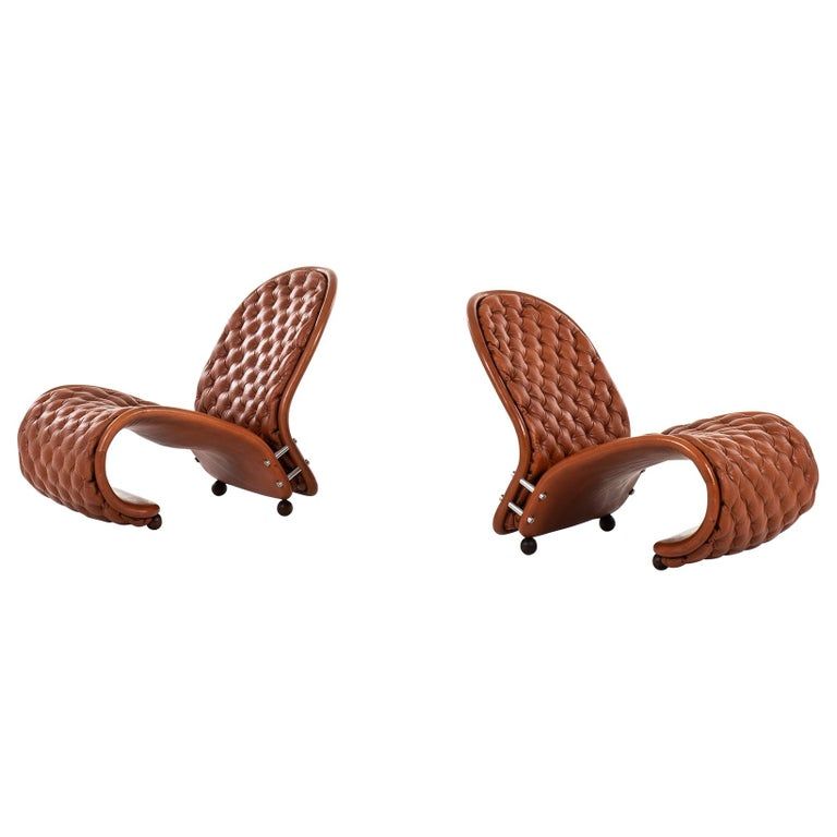 Verner Panton Easy Chairs Model System 1-2-3 by Fritz Hansen in Denmark For Sale