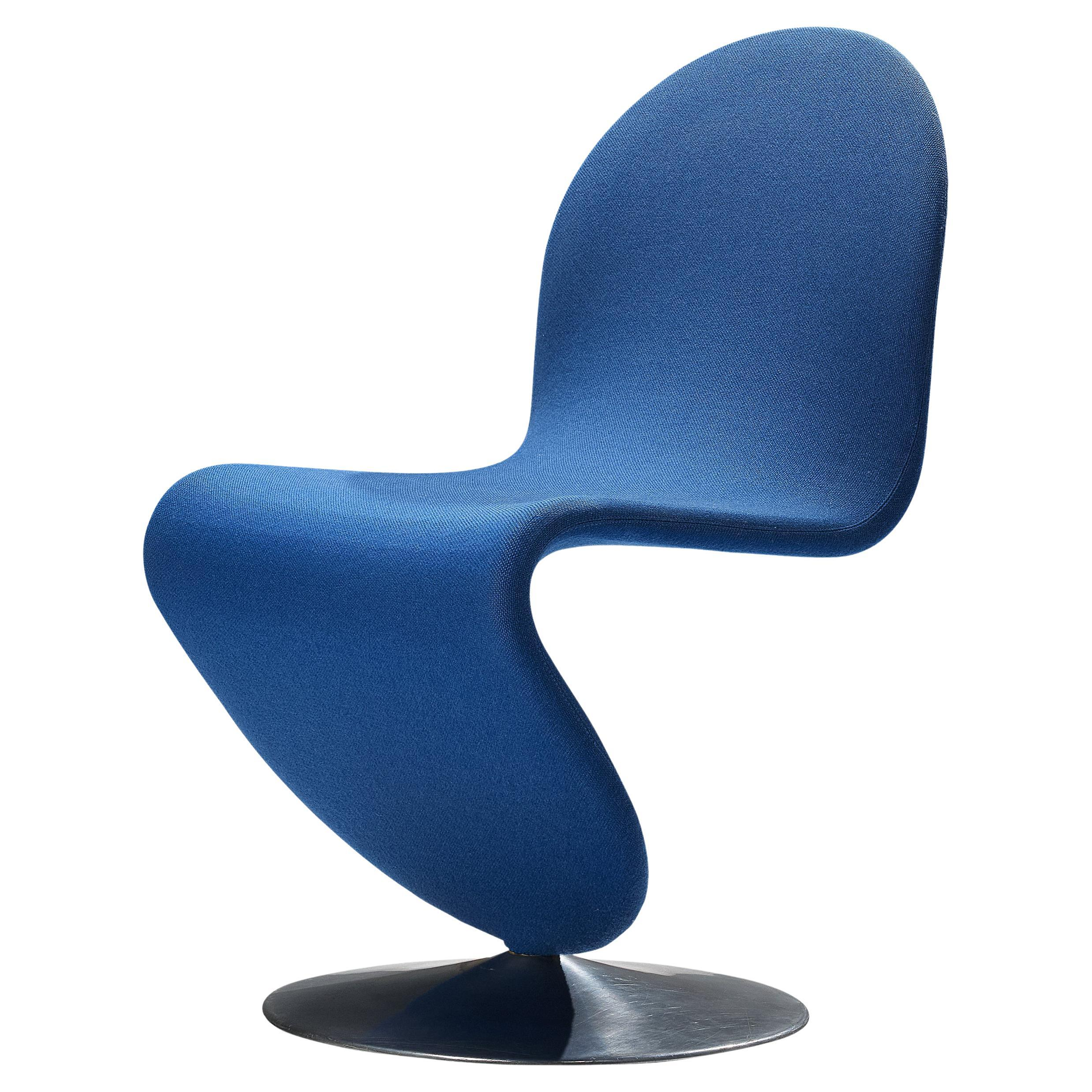 Verner Panton for Fritz Hansen 'Chair A' Chair in Blue Upholstery