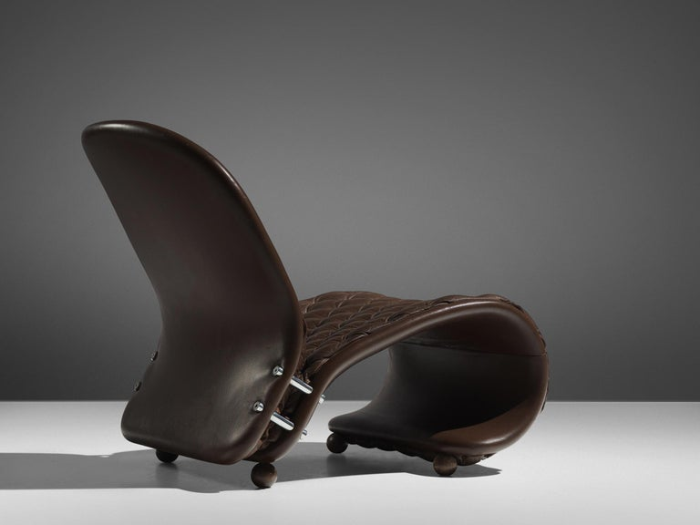 Danish Verner Panton for Fritz Hansen Iconic Lounge Chair Model G in Leather For Sale