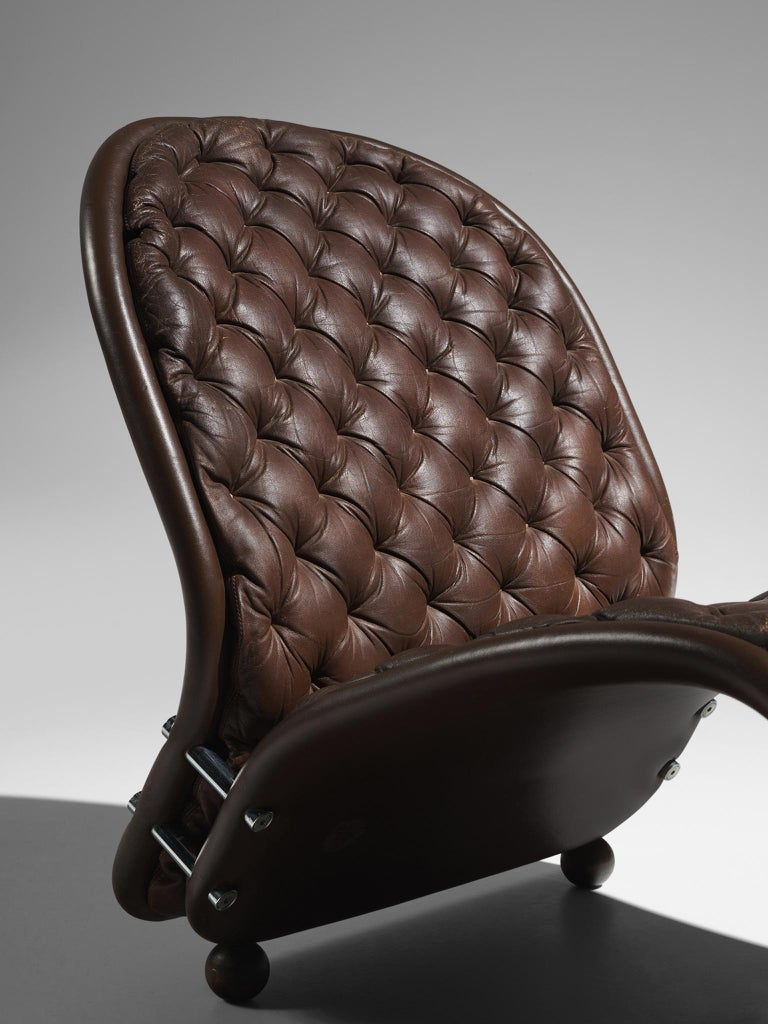 Verner Panton for Fritz Hansen Iconic Lounge Chair Model G in Leather In Good Condition For Sale In Waalwijk, NL