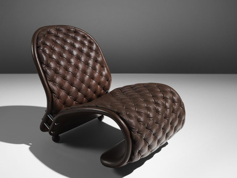 Verner Panton for Fritz Hansen Iconic Lounge Chair Model G in Leather For Sale 1
