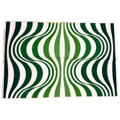 Verner Panton Green Spectrum for Mira X Handprinted Textile Panel, Rare, 1960s