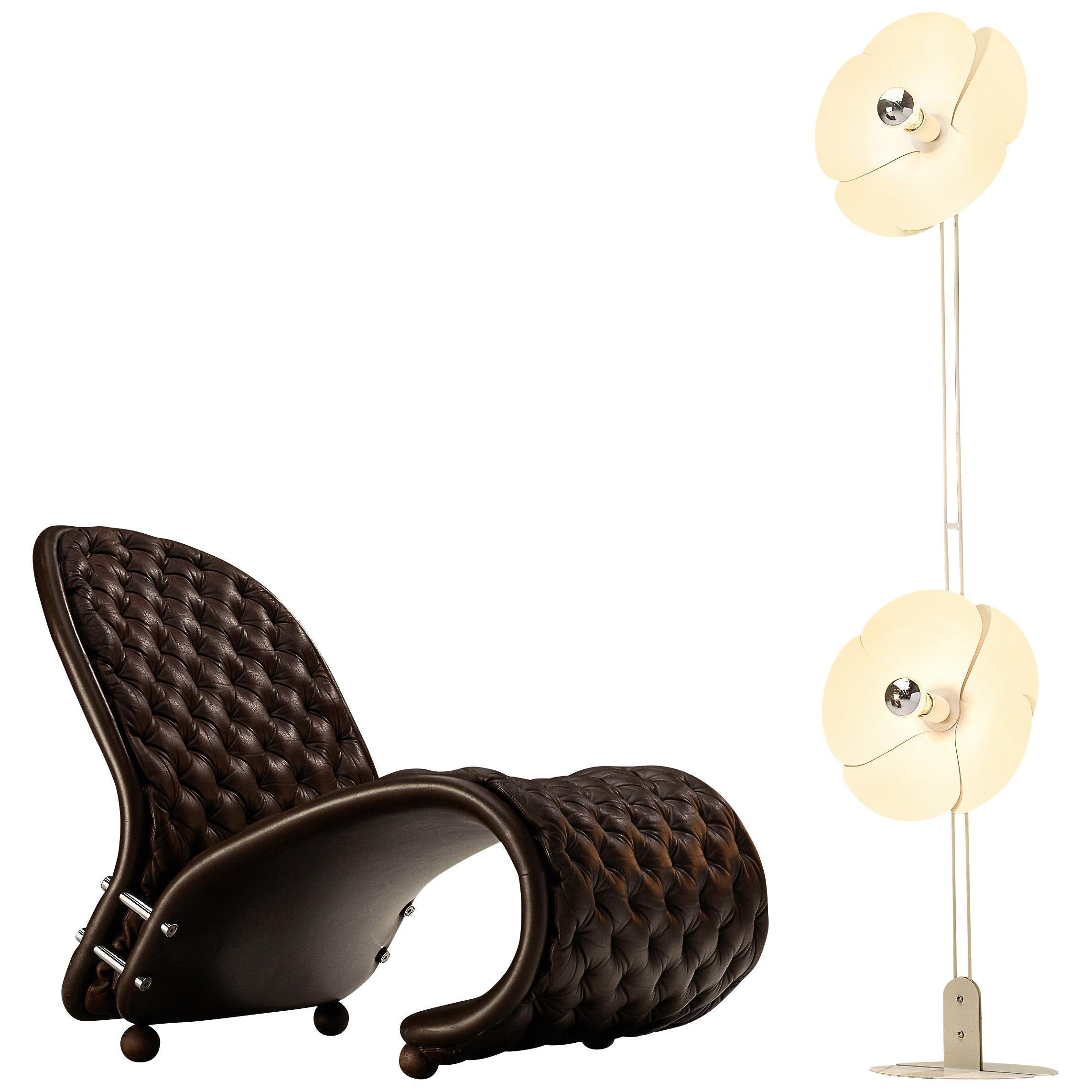 Verner Panton Iconic Lounge Chair in Leather with Olivier Morque Floor Lamp 2093