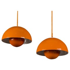 Verner Panton Pair of Enamel Flowerpot Pendant Lights for Louis Poulsen, Denmark