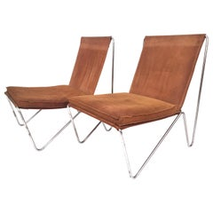 Verner Panton Pair of Suede Leather Bachelor Chairs, 1957