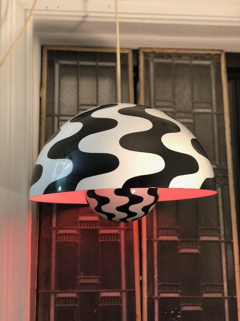Danish Verner Panton Scandinavian Modern Black & White Flowerpot Pendant Space Age Mod For Sale
