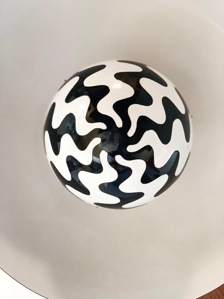 Enameled Verner Panton Scandinavian Modern Black & White Flowerpot Pendant Space Age Mod For Sale