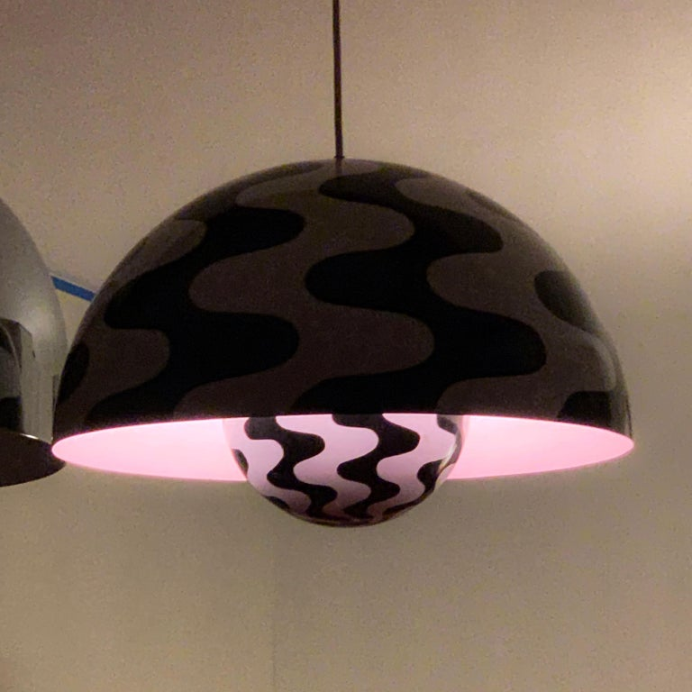 Extremely rare large scale Verner Panton Black white flower pot. Retains 'made in Denmark' label on fixture. Produced for only one season (as far as I've been able to research) in either late 1969 or early 1971.   Inside of the smaller