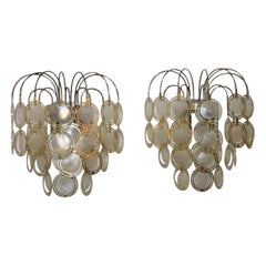 Verner Panton Sconces 1960s in Brass and Pearl
