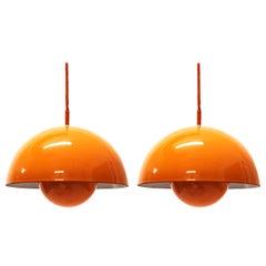 Verner Panton Set of Two Flowerpot Pendant Lights for Louis Poulsen, Denmark