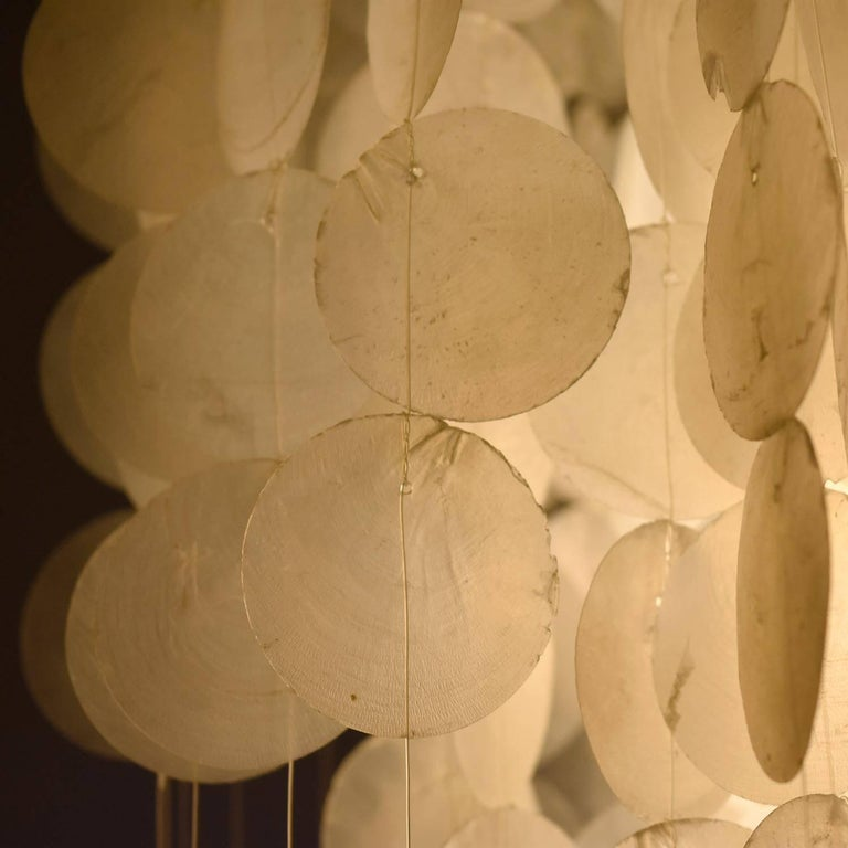 Verner Panton Style Capiz Shell Chandelier Hanging Light For Sale 1
