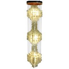 Verner Panton Style Capiz Shell Chandelier Hanging Light