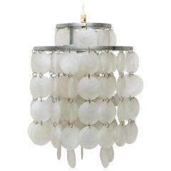 Verner Panton Style Capiz Shell Chandelier Lamp, circa 1970