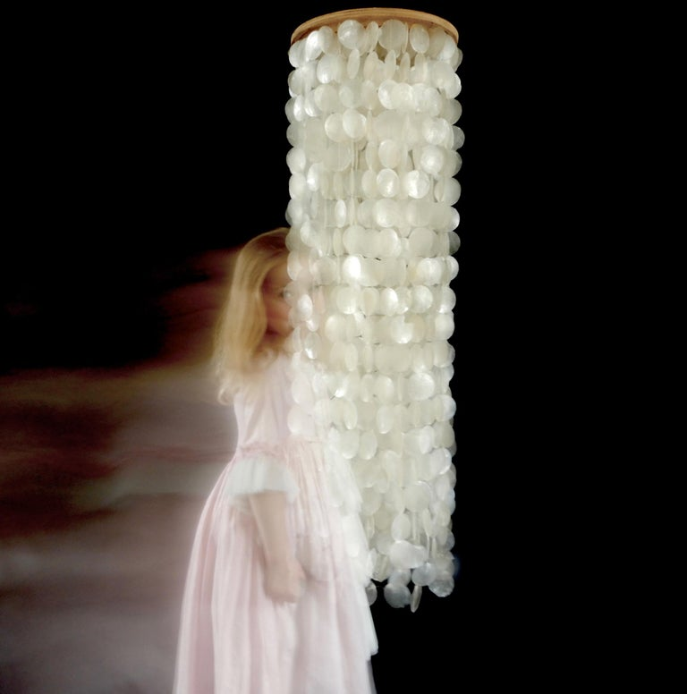 Late 20th Century Verner Panton Style Mother of Pearl Chandelier, 1970s For Sale
