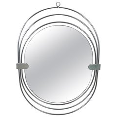 Verner Panton Style Oval Smoked Wall Mirror in Chrome Frame, Italy, 1970s