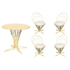 "Verner Panton Style Wire ""Cone"" Chairs and Dining Table Patio Set"