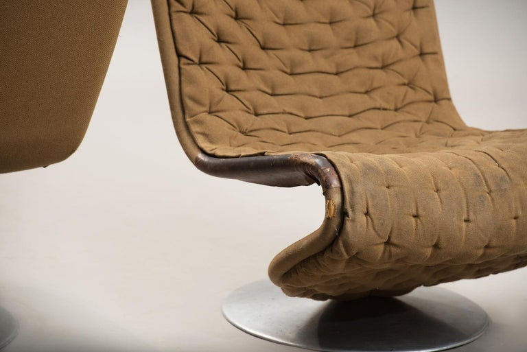 Verner Panton 'System 1-2-3 De Luxe' Lounge Chairs, for Fritz Hansen, Denmark In Distressed Condition For Sale In Porto, PT