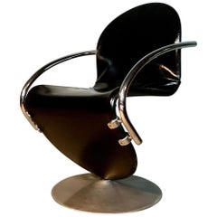Verner Panton System 1-2-3 Swivel Chair in Original Leather
