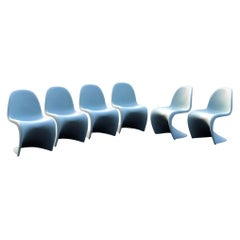 Verner Pantone for Vitra Ice Gray Panton Chairs Set of Six