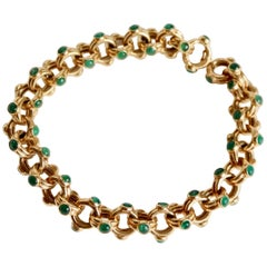 Verney Poiray Bracelet in 18 Carat Yellow Gold and Emeralds, 1970