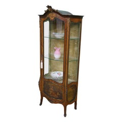 Vernis Martin Decorated French Kingwood Vitrine