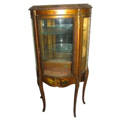 Vernis Martin French Curio Cabinet Bronze Mounts and Hand Painted Panels
