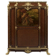 Vernis Martin Mounted Parquetry Side Cabinet by Maison Krieger, French