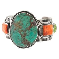 Vernon and Clarissa Hale Navajo Turquoise Bracelet Sterling, circa 2000