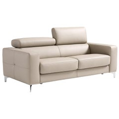 Verona Beige Leather 2-Seater Sofa Bed