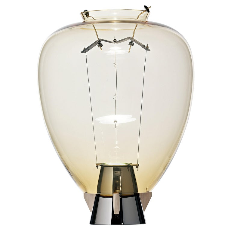For Sale: Yellow (Amber_AA) Veronese 6536 Table Lamp in Glass & Brass, by Umberto Riva from Barovier&Toso